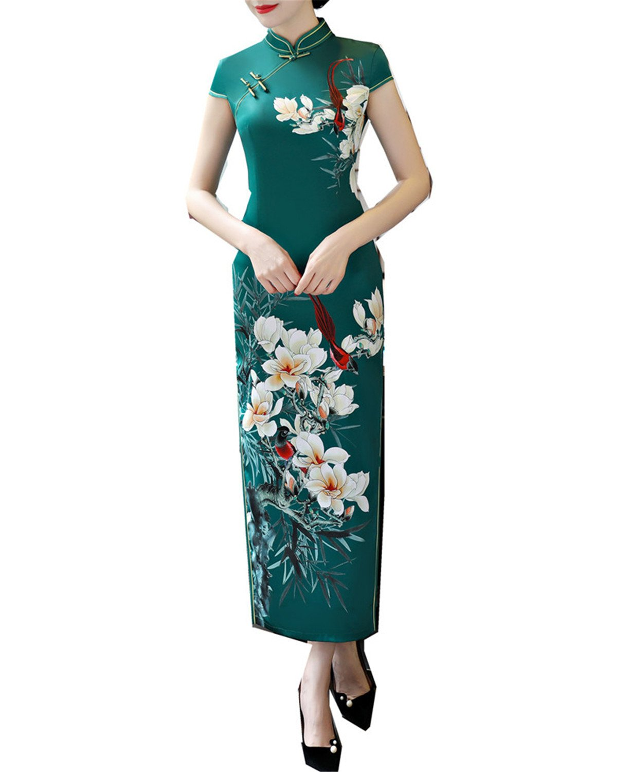 Coac3 Faux Silk Qipao Dress Long Cheongsam Dresses Short Sleeve Slim Traditional Chinese Dress for Woman Green L