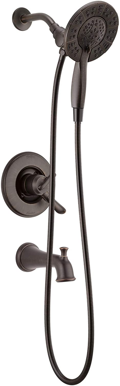 Delta Faucet Linden 17 Series Dual-Function Tub and Shower Trim Kit, Shower Faucet with 4-Spray In2ition 2-in-1 Dual Hand Held Shower Head with Hose, Venetian Bronze T17494-RB-I (Valve Not Included), Without Rough - Hand Held Showerheads -