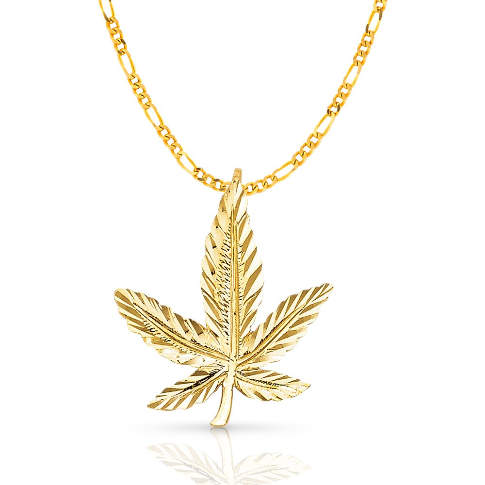 14K Yellow Gold Marijuana Leaf Charm Pendant with 2.3mm Figaro 3+1 Chain Necklace - 18''