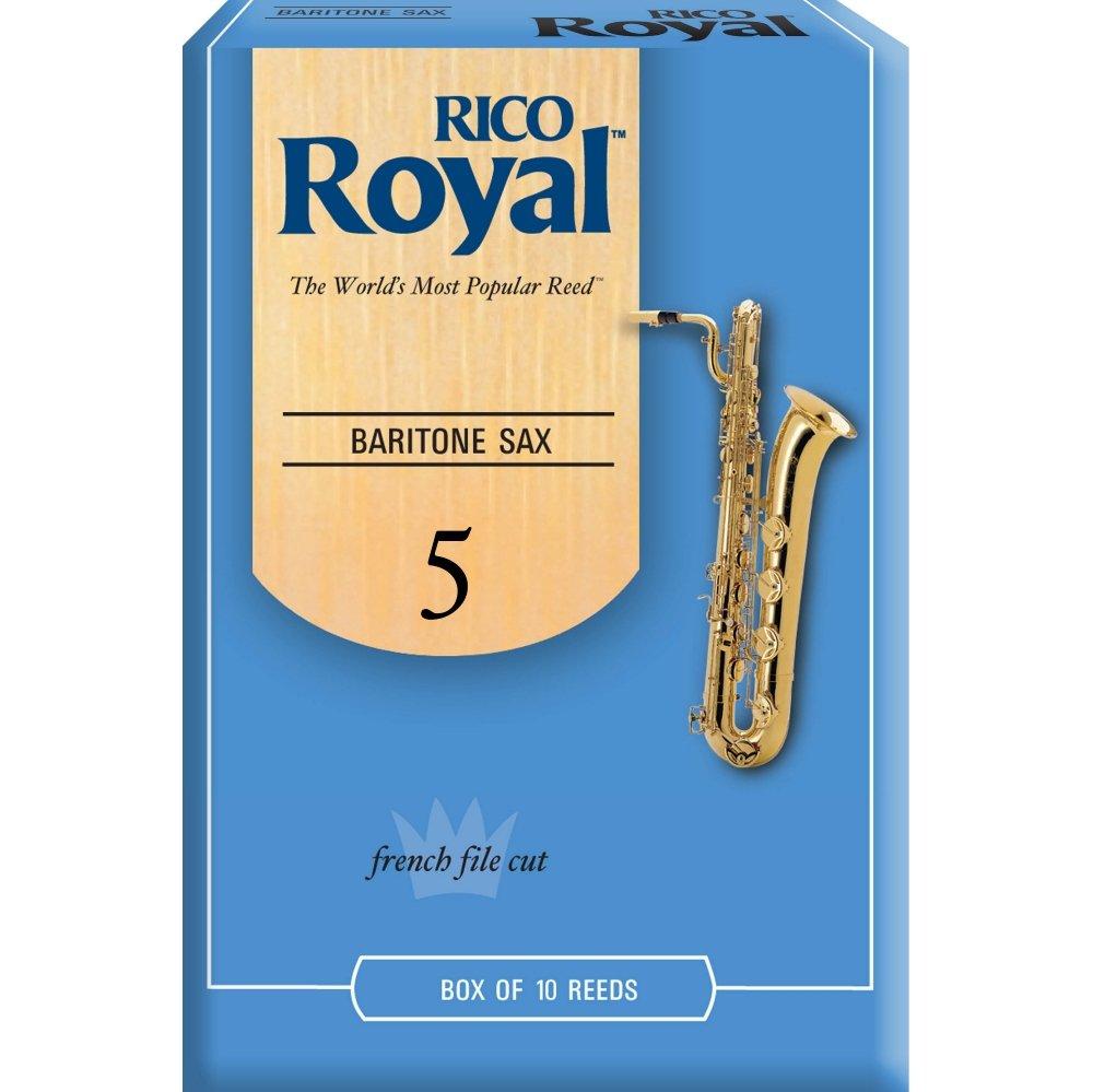 Rico Royal Baritone Saxophone Reeds, Box of 10 Strength 5 Box of 10