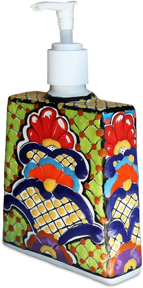 Mexican Fiesta Designs Talavera Ceramic Soap & Lotion Dispenser, for Kitchen or Bathroom Countertops - Hand Painted Mexican Pottery - Jabonera (Multicolor)