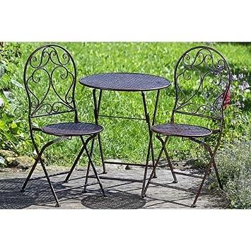 Amazon.de: Gartenmöbel 3er Set - 1 Tisch, 2 Stühle klappbar, Eisen ...