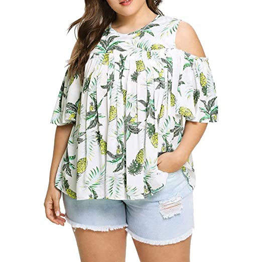 9f28df4ad48ee Amazon.com  Womens Plus Size O-Neck Fold Bare Shoulder Fashion Short Sleeve  Pineapple Print Casual T Shirt Tops for Teen Girls Blouse  Clothing