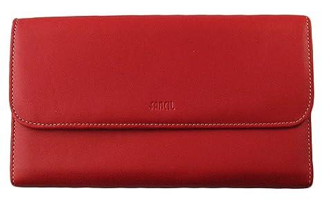 Monedero De Piel Rojo Para Señoras / Billetera De Cuero Dama ...