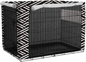 Fit for Various sizes of Wire Dog Crate Windowed Puppy Dog Crate Cover Durable Kennel Cage Cover with Two Doors and a Window M.Q.L No Cage Cover only. Shade and Dust-Proof Polyester Curtain
