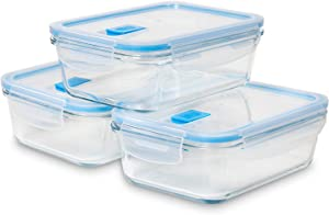 Black + Decker Food Storage Containers for Kitchen Organization and Storage, Ideal Storage Containers with Lids Vented, Kitchen Cabinet Organizer Rectangle Plastic Storage Bins for Food Storage 3 Pack