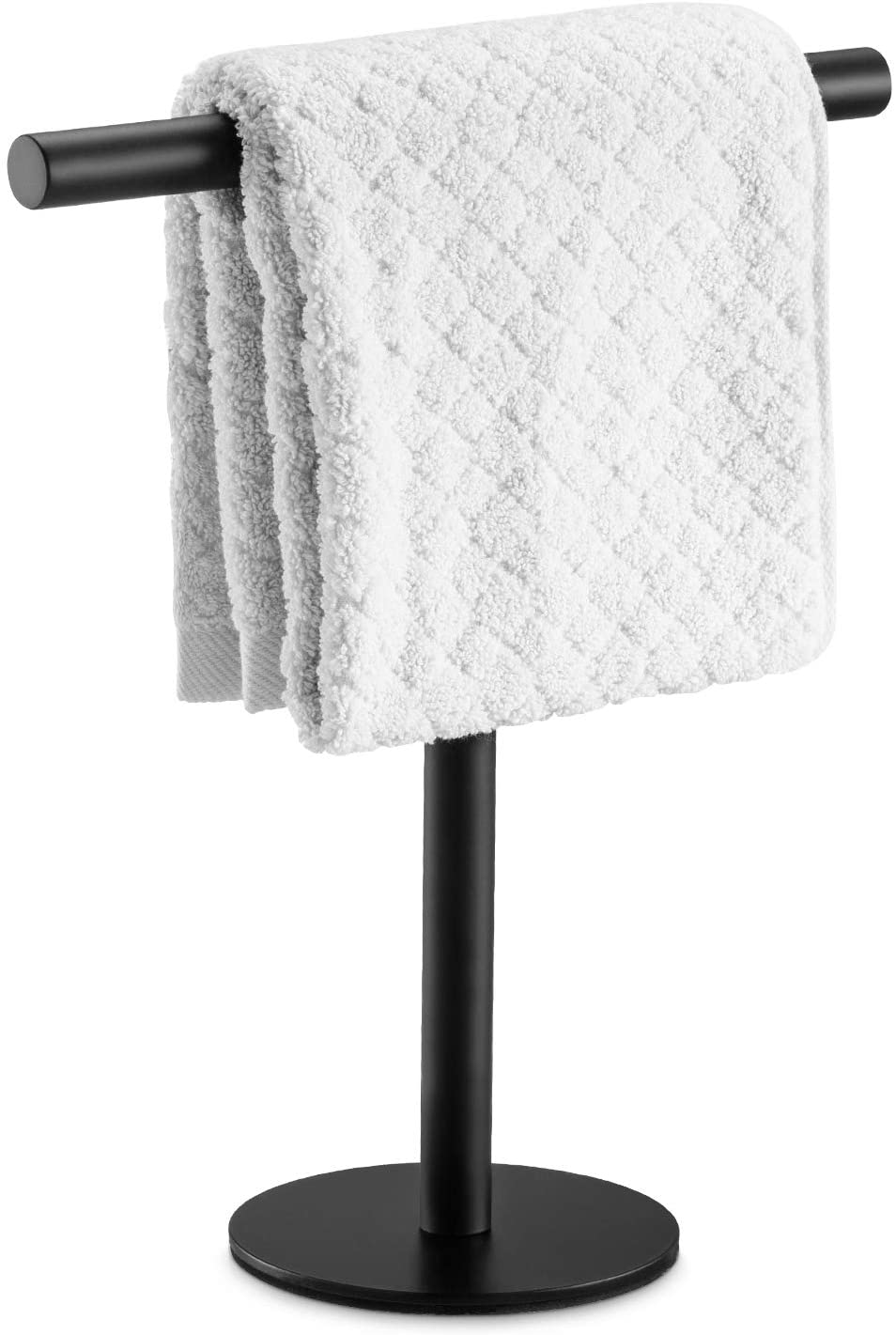 Amazon Com Pynsseu Bath Hand Towel Holder Standing Sus304 Stainless Steel Matte Black T Shape Towel Bar Rack Stand Tower Bar For Bathroom Kitchen Vanity Countertop Home Kitchen
