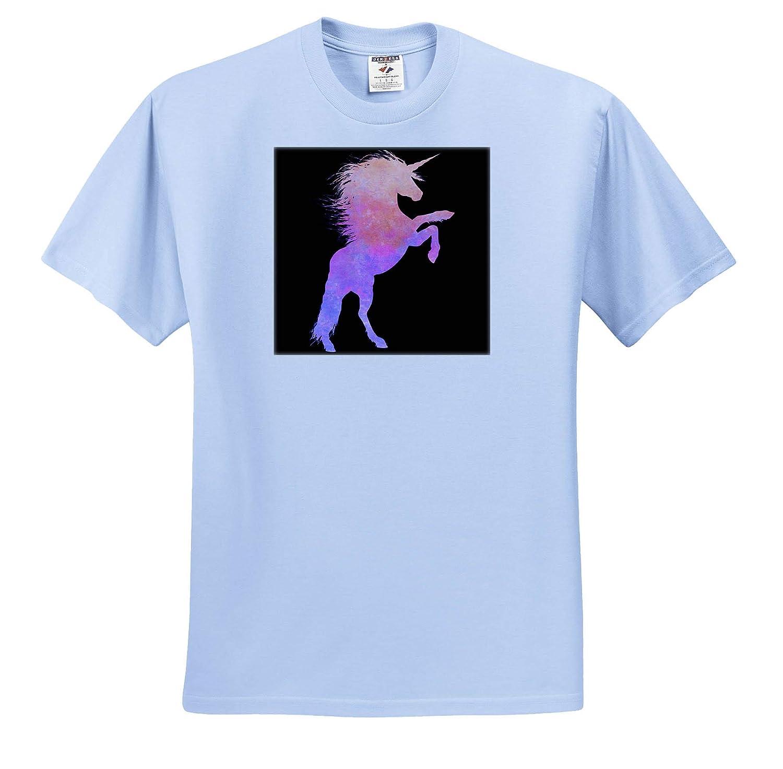 3dRose Cassie Peters Unicorns Pink and Purple Grunge Unicorn Adult T-Shirt XL ts/_309335