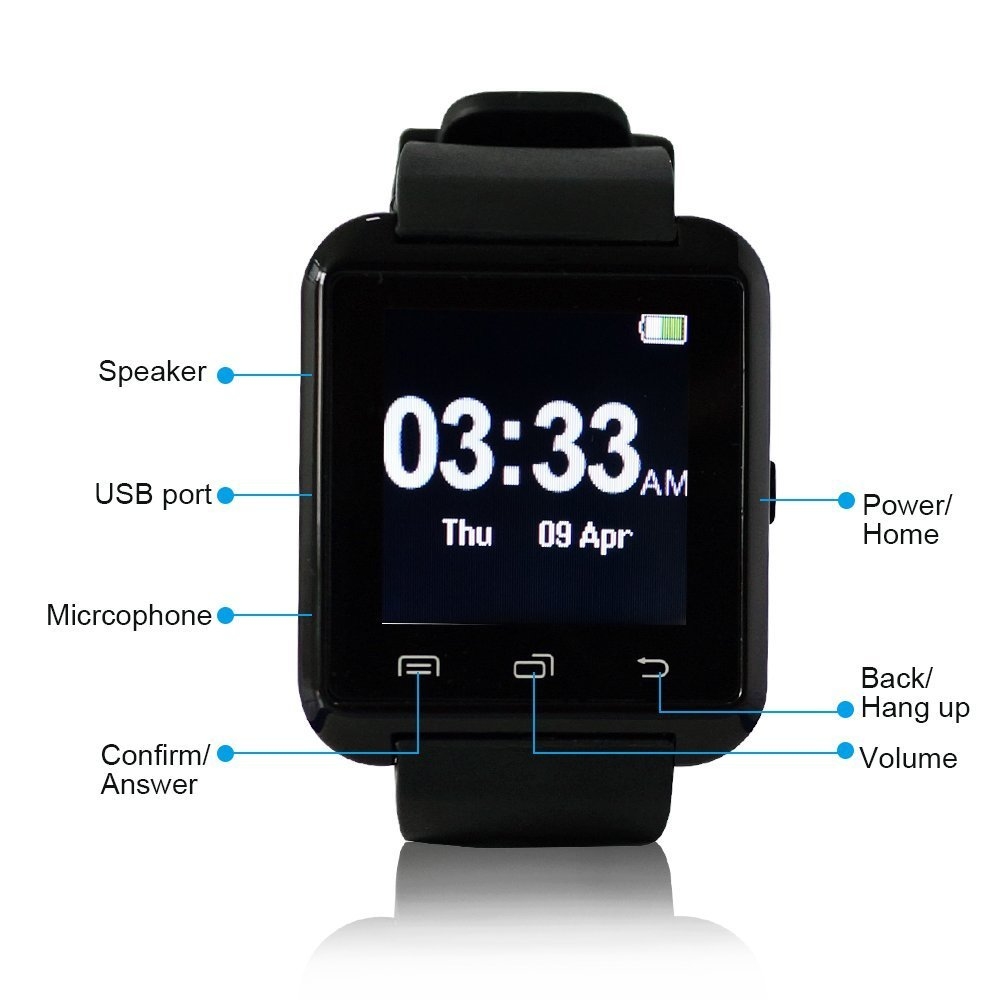 Amazon.com: TechComm U8 Bluetooth Smart Watch for Android ...