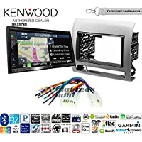 Volunteer Audio Kenwood DNX574S Double Din Radio Install Kit with GPS Navigation Apple CarPlay Android Auto Fits 2005-2011 Non Amplified Toyota Tacoma (Silver Textured)