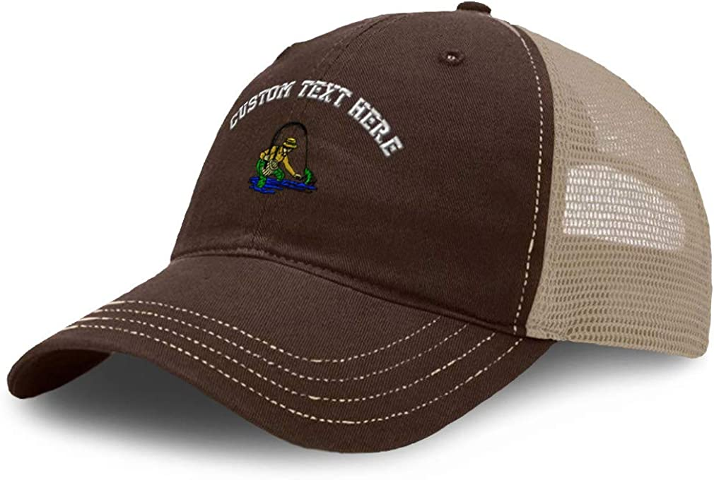 Custom Baseball Cap Fly Fisherman A Embroidery Cotton Soft Mesh Cap Snapback Brown Khaki Personalized Text Here
