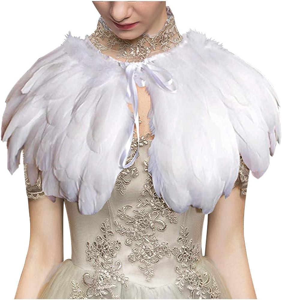 LVOW - Capa de plumas góticas para mujer, bufanda, pañuelo ...