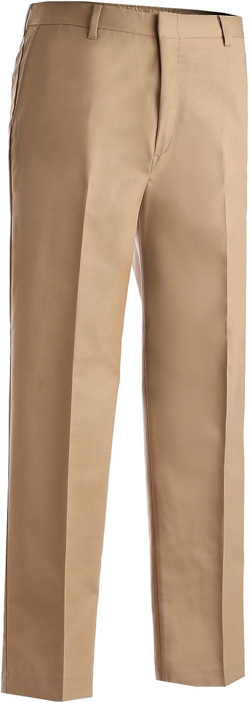 Ed Garments MenS Business Casual Flat Front Brass Zipper Pant-Khaki-42-Ul
