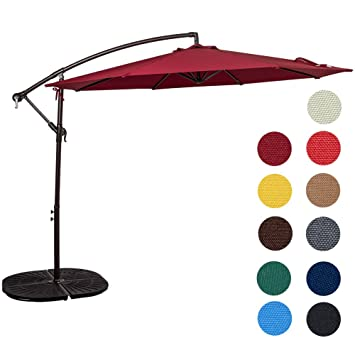 Sundale Outdoor 10 Feet Aluminum Offset Patio Umbrella With Crank, 8 Steel  Ribs (Burgundy