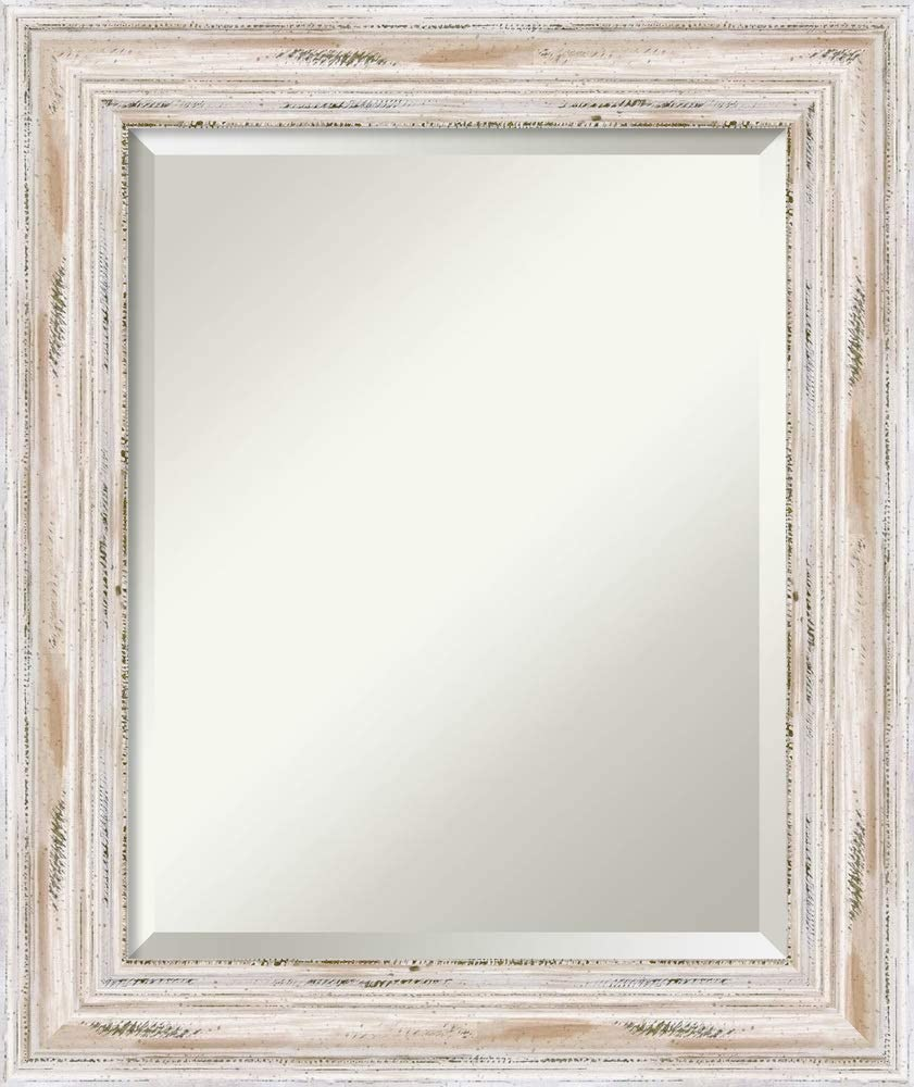 Framed Vanity Mirror   Bathroom Mirrors for Wall   Alexandria White Wash Mirror Frame   Solid Wood Mirror   Small Mirror   25.12 x 21.12 in.