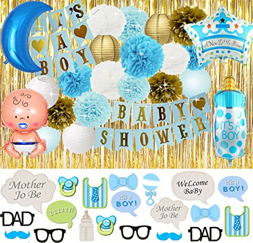 Baby Shower Decorations for Boys – Complete Party Kit 44 Pieces- Booth Photo Prop Included -