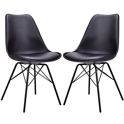 Sensational Giantex Set Of 2 Dining Chair Upholstered Pu Leather Armless Mid Century Modern Style With Padded Seat Metal Legs Accent Armless Chairs Living Room Creativecarmelina Interior Chair Design Creativecarmelinacom