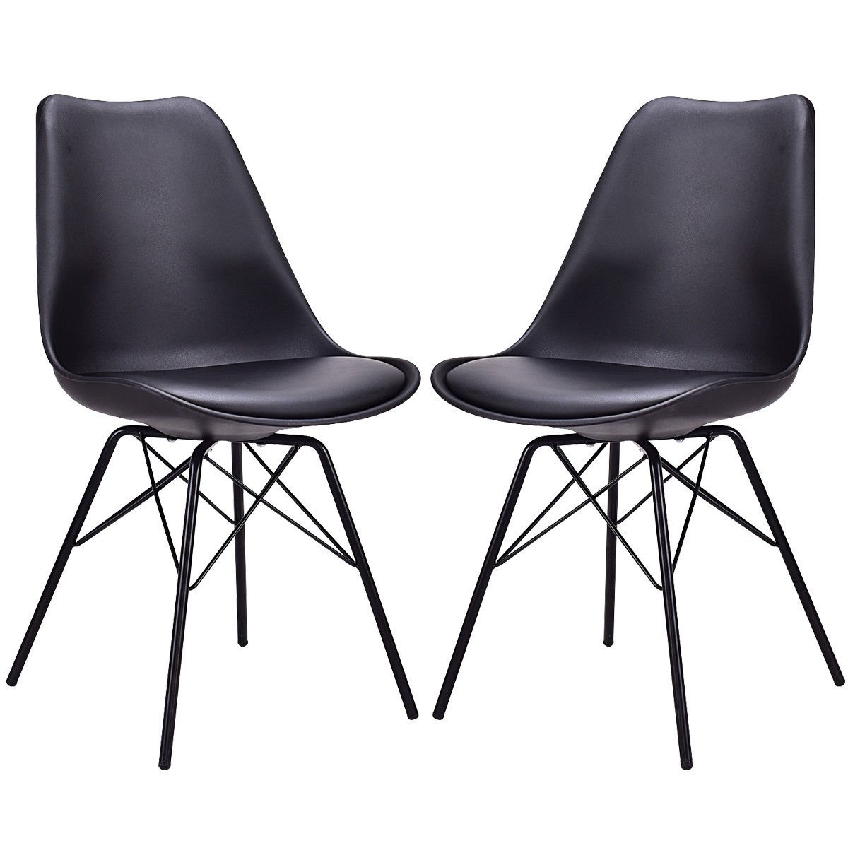 Giantex Set of 2 Dining Chair Upholstered PU Leather Armless Mid Century Modern Style with Padded Seat Metal Legs Accent Armless Chairs Living Room Chairs Set (Black)