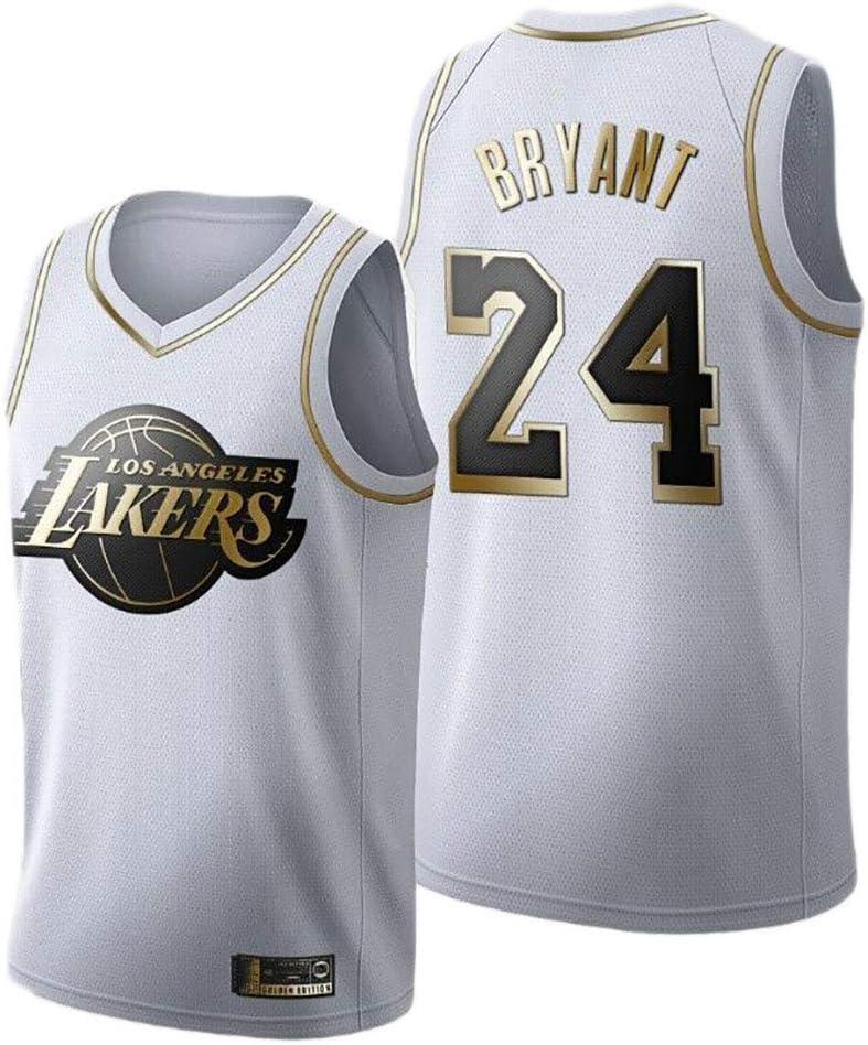 Los Hombres de Oro Blanco Baloncesto Jersey de Los Angeles Lakers Kobe Bryant # 24 Mangas Transpirable de Secado r/ápido Deporte Chaleco de la Tapa,S 170cm//50~65kg