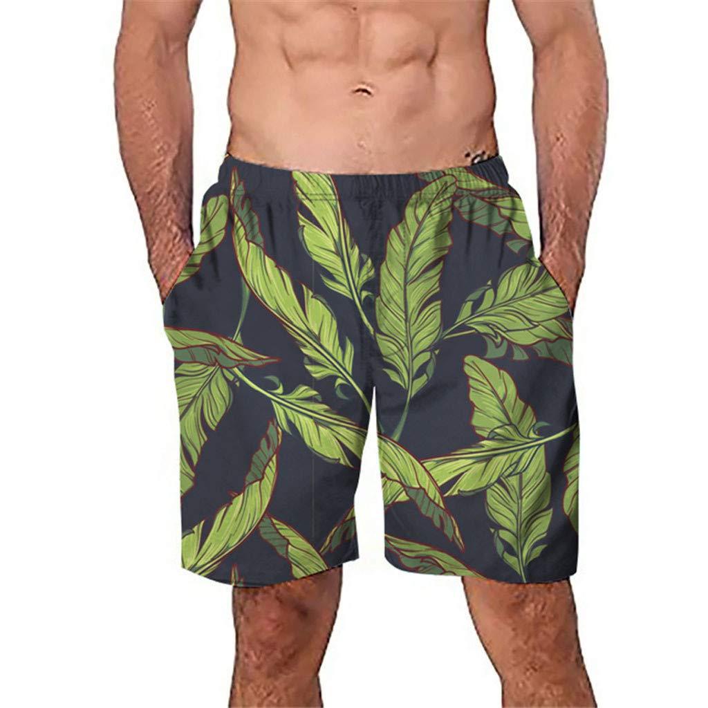 NUWFOR Men Casual 3D Graffiti Printed Beach Work Casual Men Short Trouser Shorts Pants(Green,US:S Waist26.0-29.9'')
