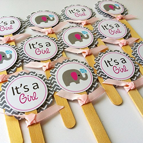 Baby Girl Elephant Cupcake Toppers - It's a Girl Baby Shower Party Supplies in Pink Grey - Set of (Homemade Baby Shower Favors)