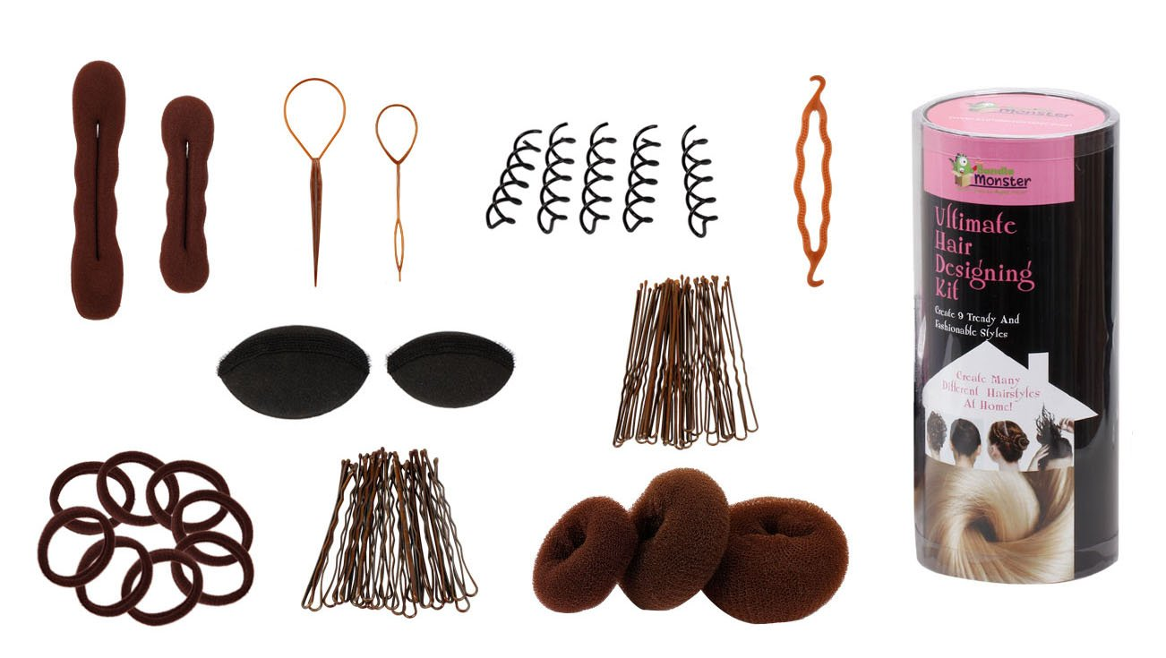 Bundle Monster 9in1 Fashion Hair Design Styling Tools Accessories Kit- Bun Maker, Roller, Braid Twist, Elastics, Pins for BRUNETTE Hair Color