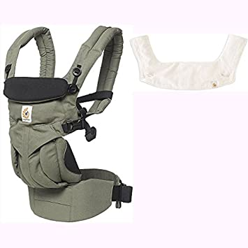 cb6bc16d166 Amazon.com   Ergo Baby Omni 360 All-in-One Ergonomic Baby Carrier with  Teething Pad and Bib - Khaki Green Natural   Baby