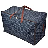 Ocharzy Waterproof Storage Bag with Strong Handles,Travelling Bag, College Carrying Bag,Quilt Pillow Blanket Clothing Storage Bag,Washable,72L (Blue)
