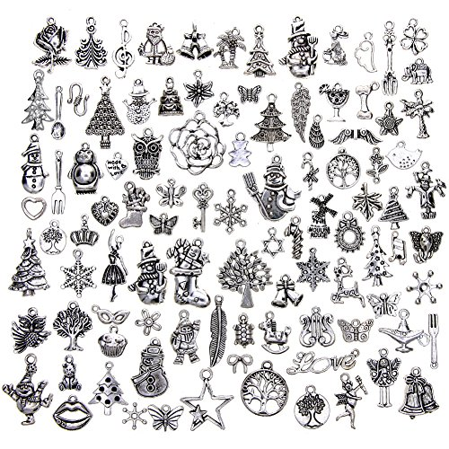 KeyZone Wholesale 100 Pieces Antique Silver Mixed Christmas Charms Pendants DIY for Jewelry Making and Crafting