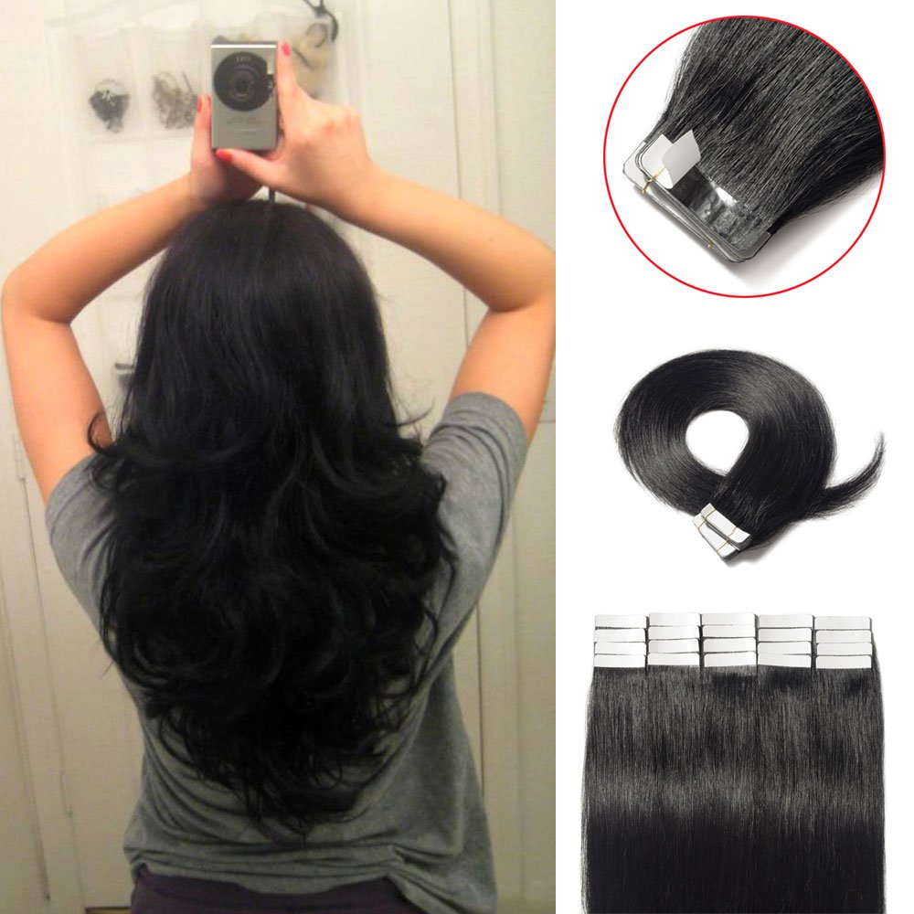 """100% Raw Virgin Human Hair Tape in Hair Extensions 16-22 inch 40pcs 100g Color #1B (18"""")"""
