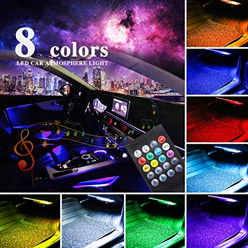 Car LED Strip Light,4pcs Multicolor Music Car Interior Light LED Under Dash Lighting Kits DC 12V with Sound Active Function and Wireless Remote Control Included