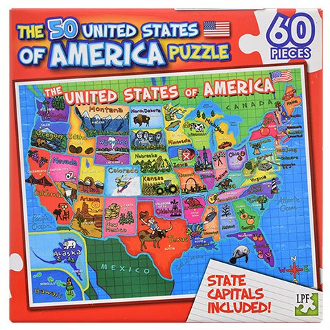 60 Piece Puzzles for Kids US States Map by Sunflower Day