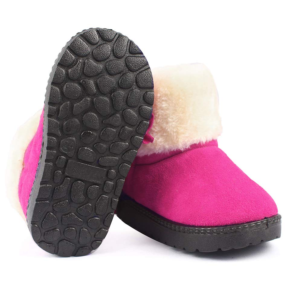 Toddler Snow Boots Girls Winter Warm Plush Bowknot Flat Kids Athletic /& Outdoor Shoes for Toddler//Little Kid ESTAMICO