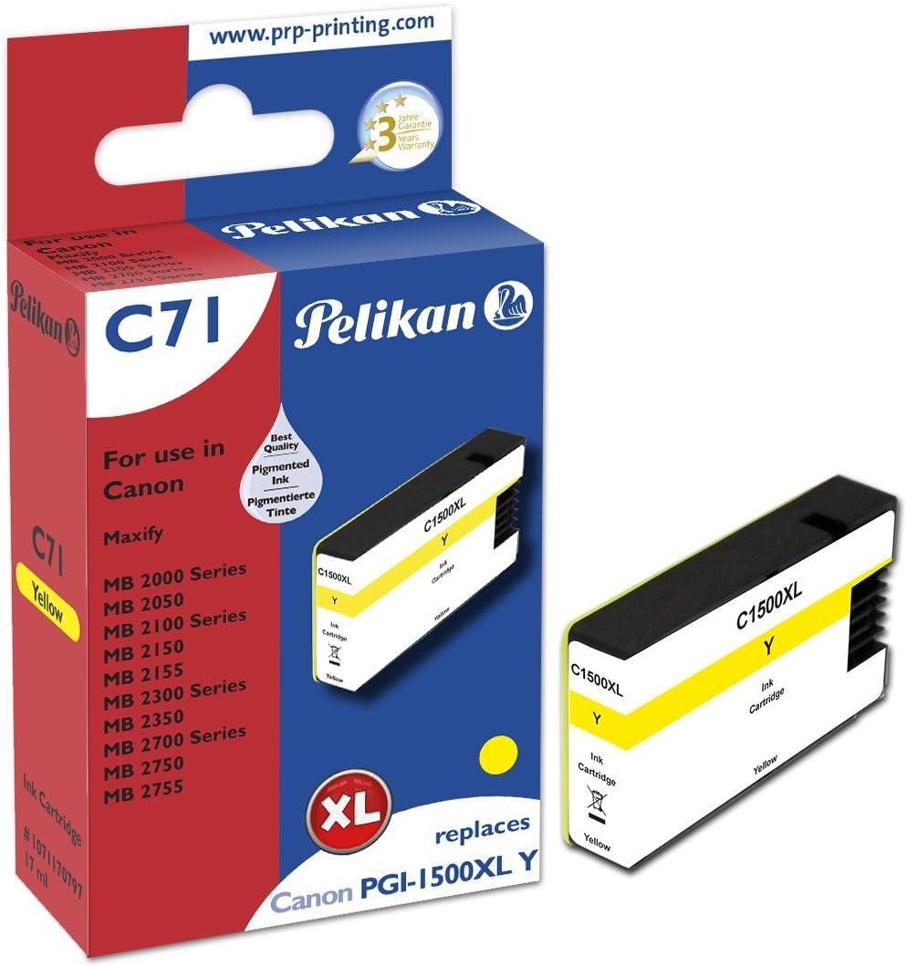 Pelikan Xl Druckerpatrone C71 Ersetzt Canon Pgi 1500xl Y Gelb Bürobedarf Schreibwaren