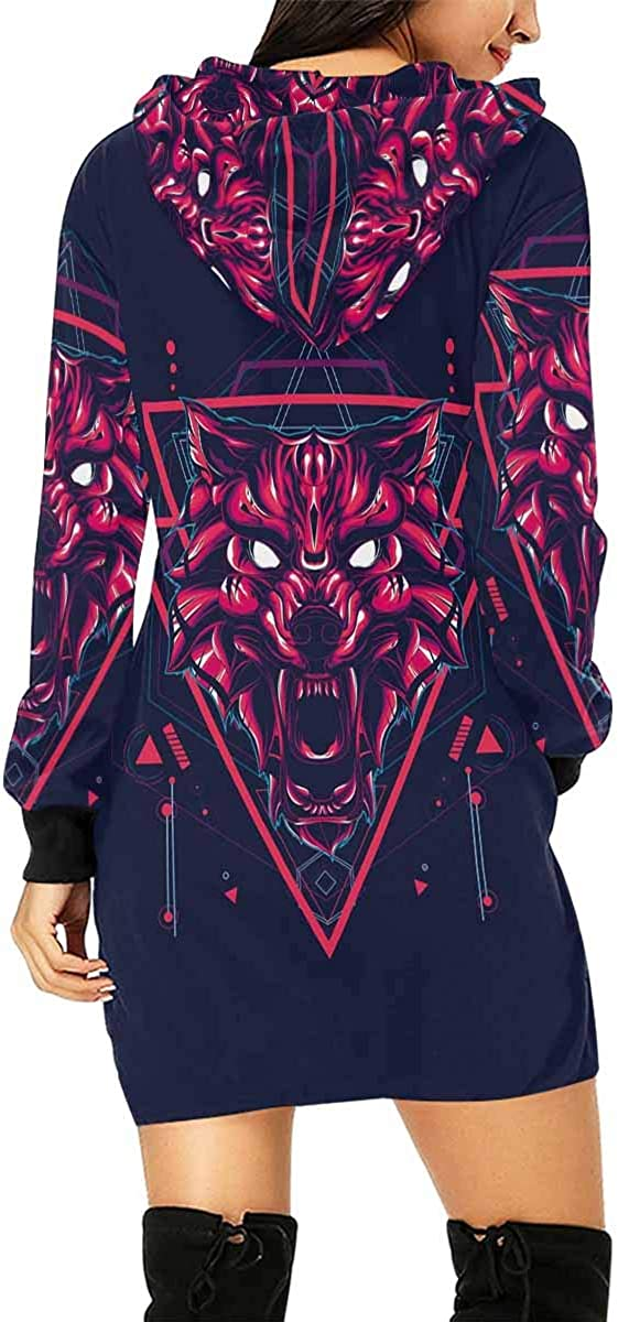INTERESTPRINT Womens Hooded Dress with Pocket Zodiac Sun Moon Pullover Tunic Drawstring