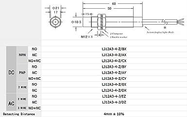 TOUHIA LJ12A3-4-J//EZ 4mm Inductive Proximity Sensor NO DC6-36V