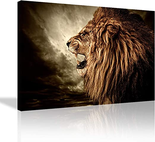 Stretched by Wooden Frame,Ready to Hang 4 Panel Wall Art Brown Fierce Lion Against Stormy Sky Painting The Picture Print On Canvas Animal Pictures for Home Decor Decoration Gift Piece