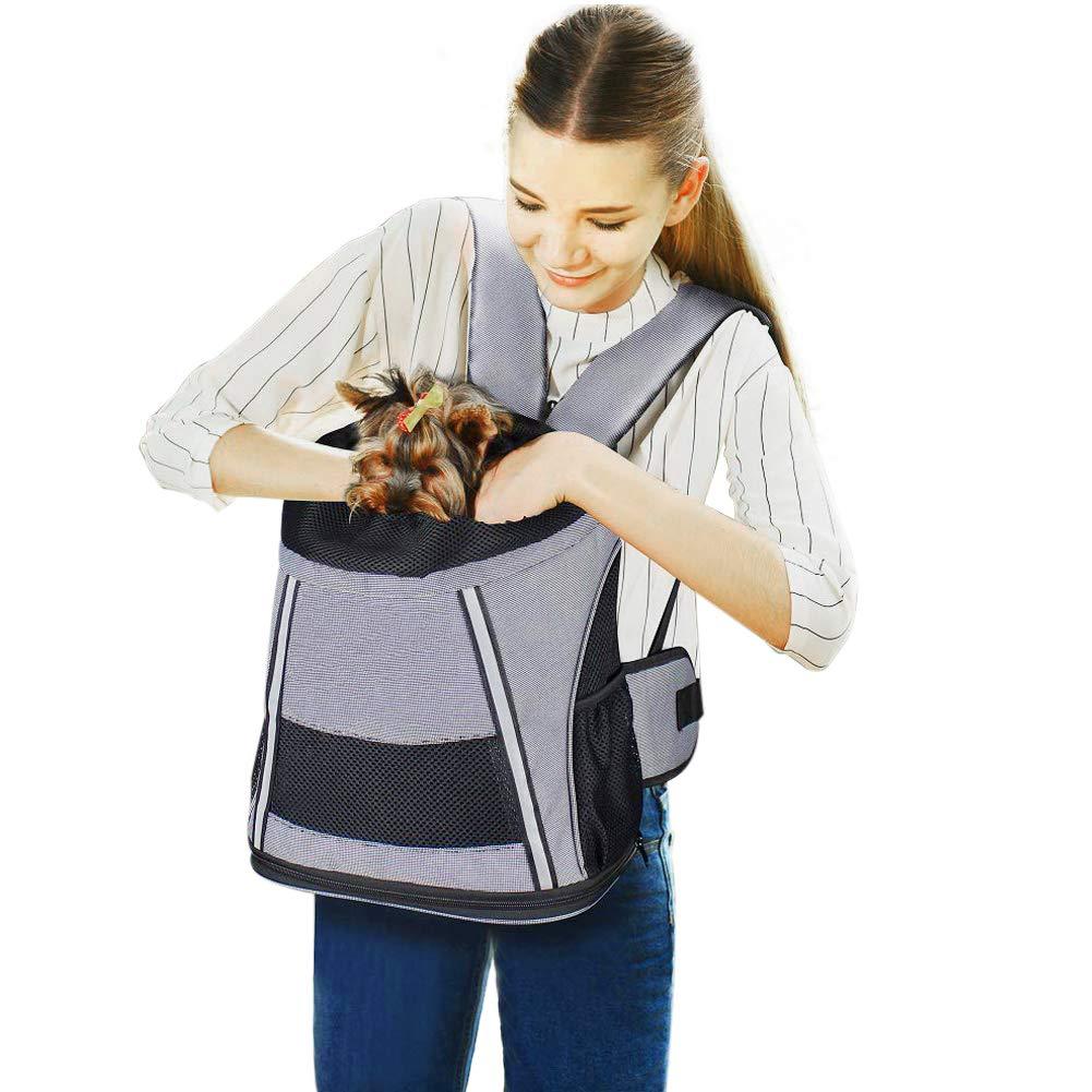 Pet Travel Carrier Front Backpack Drawstring Dog Carrier Shoulder Bag Strap AdjustableVentilated Supportive Frame for Puppy Cats Outdoor Hiking Travel
