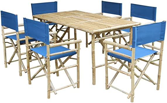 Zew SET-015-0-12 Bamboo Rectangular Table with 6 Director Chairs