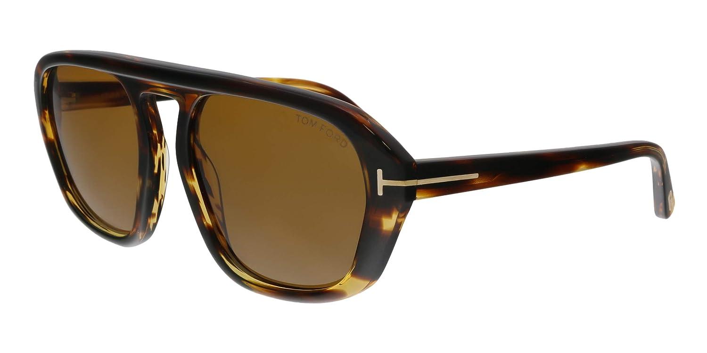676f1adecc Amazon.com  Tom Ford FT0634 52E David-02 Havana Square Sunglasses for Mens   Clothing