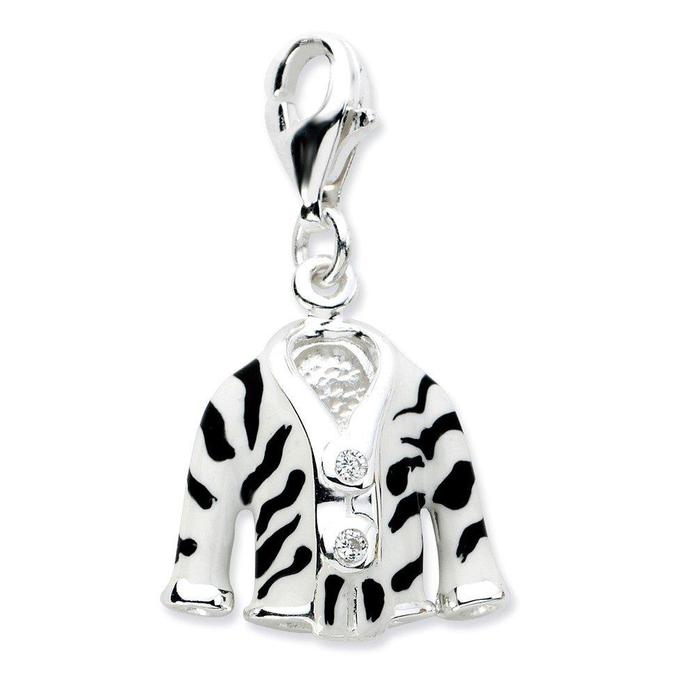 Roy Rose Jewelry Sterling Silver Amore la Vita Click-on CZ Enamel Zebra Jacket Charm