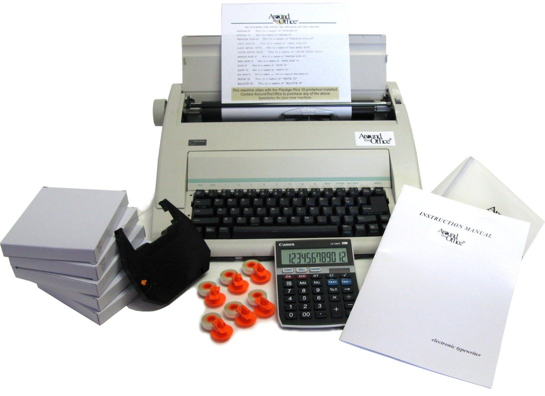 Typewriter & Calculator Small Office Package with Large Dark Printing, Dust Cover, 6 Ribbons & Correction Tapes. by Around The Office