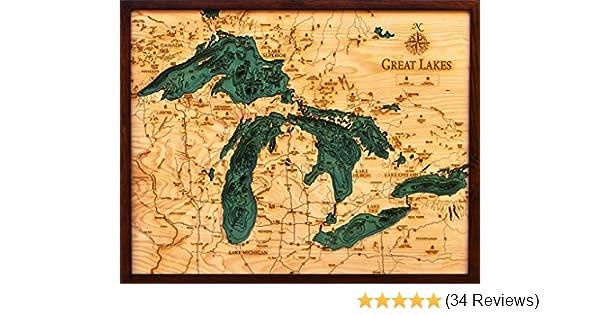 Amazon.com: Woodchart Great Lakes Wooden Nautical Chart Map, 16 x 20 ...