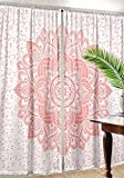 Madhu International Window Curtains Drape Balcony Room Decor Mandala Curtain Set (82'' X 41'' Curtain, Rose Gold)