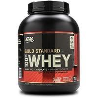 Optimum Nutrition Gold Standard Whey Eiweißpulver (mit Glutamin und Aminosäuren, Protein Shake von ON), Delicious Strawberry, 77 Portionen, 2.27kg