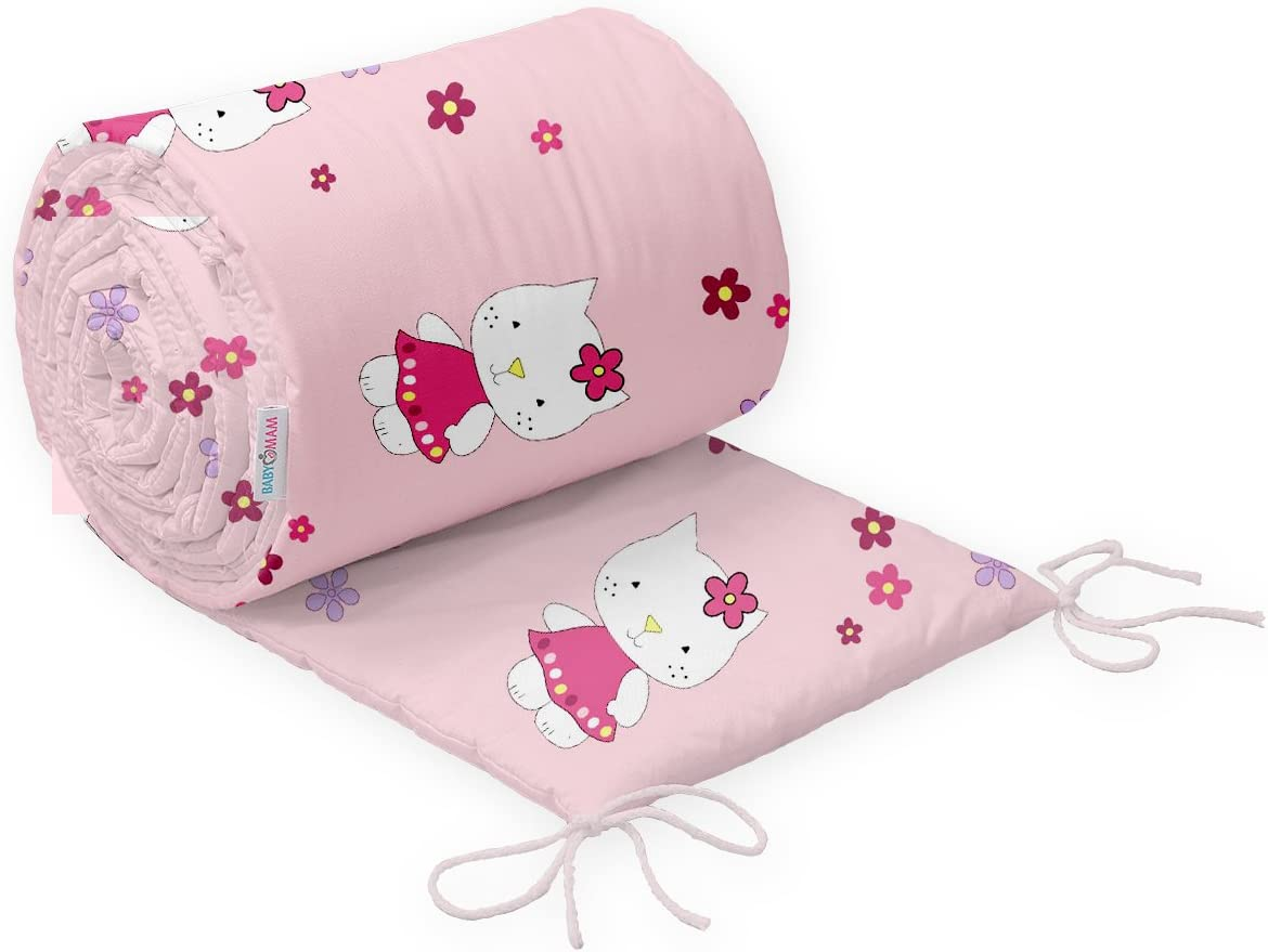 Baby Padded Bumper 100/% Cotton for COT 120x60 Straight 180 cm Safari Pink