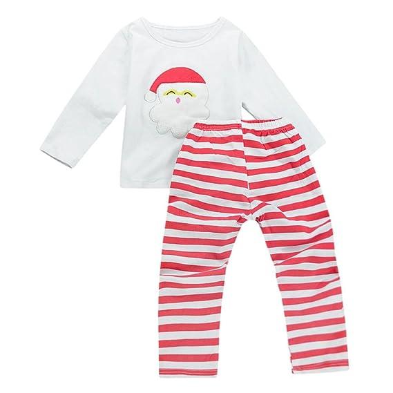 QUICKLYL 2PCS Pijamas Navidad Bebé Niños Niña Rayas Mangas Largas Invierno Otoño Top+Pantalones Ropa