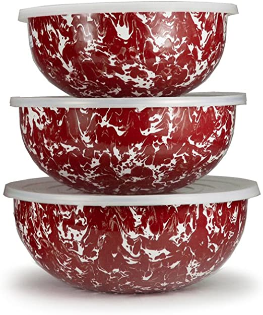 Black Swirl Pattern Set of 3 Mixing Bowls with Lids Enamelware