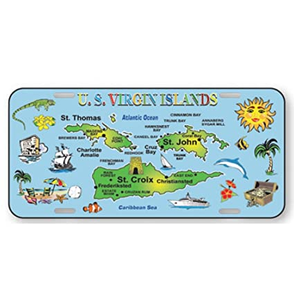 Amazoncom Rockin Gear License Plate Us Virgin Islands 6 X 12 - Map-of-us-and-us-virgin-islands