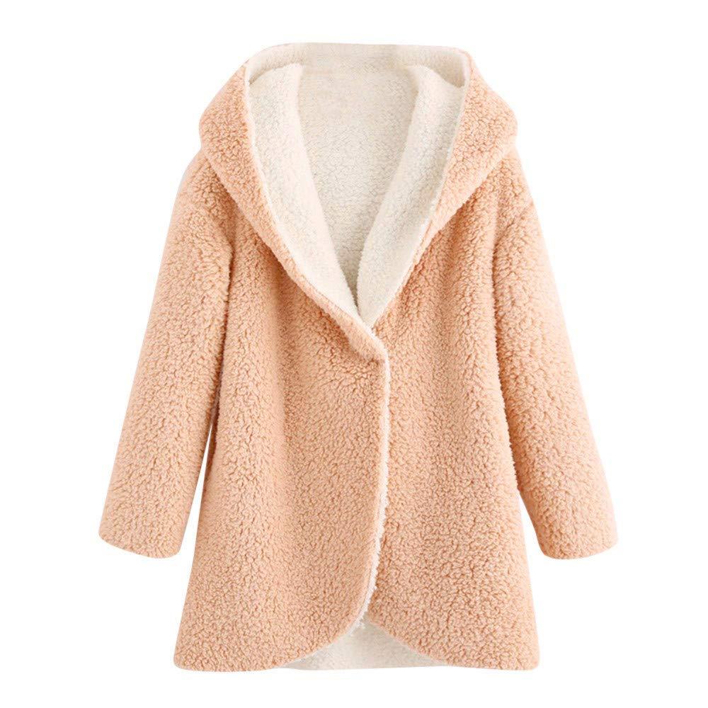 VANSOON Womens Coat Casual Winter Outwear Warm Faux Fur Hooded Short Slim Cotton-Padded Jackets Cardigan Tops Tunic Overcoat